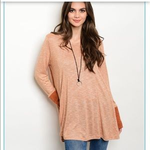 boutique Tops - Closeout! Oversized New Brick striped top