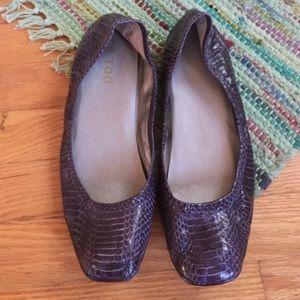 Purple faux alligator skin Nordstrom Me Too flats