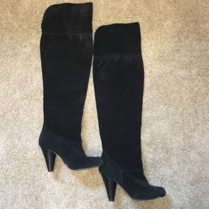 Restricted Shoes - Over the knee high suede material boots