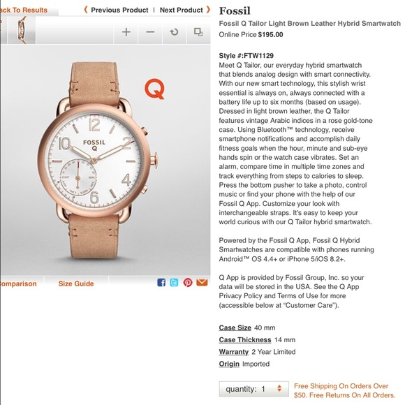 Fossil Accessories - Fossil Q Tailor Hybrid Smartwatch // new in box