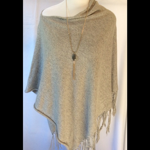 75% off Evereve Sweaters - Off the shoulder poncho with fringe ...