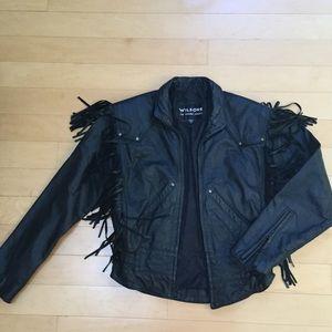 🎉HP🎉Vintage Leather Fringe Jacket