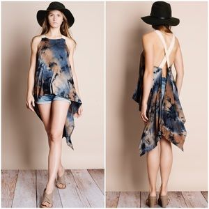 Bare Anthology Tops - Tie Dye Open Back Tank Top