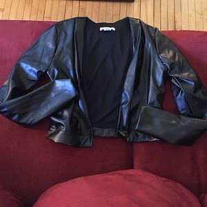 want my look Jackets & Blazers - Black Faux Leather Cropped Jacket - NWT