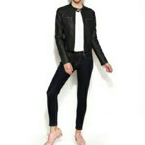 Jou Jou Jackets & Blazers - Jou Jou Zip-Front Faux-Leather Moto Jacket