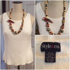 Style & Co Tops - BOGO🌺Cream Colored Ribbed Tank