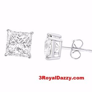 3 Royal Dazzy Jewelry - Square Cut Unisex Basket Setting Stud Earring