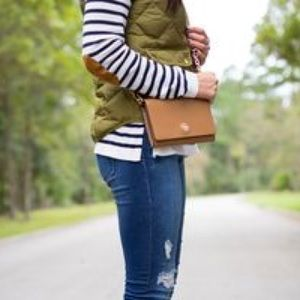 Tops - Striped top with elbow patches