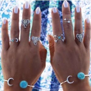 Jewelry - 6 Pcs Boho Elephant Moon Arrow Midi Punk Ring Set