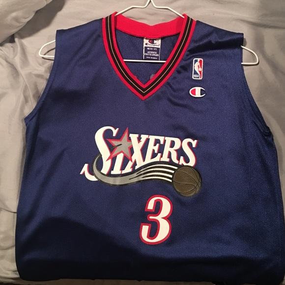 100% najwyższej jakości Cena obniżona nowe wydanie 🏀Retro 76ers Allen Iverson Jersey