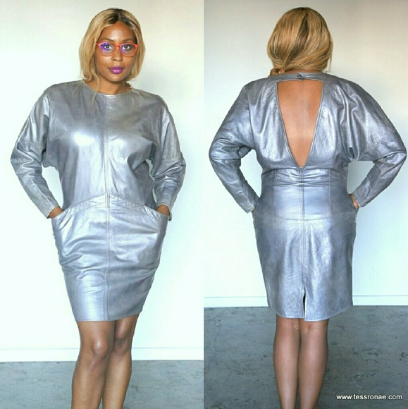 Vakko Dresses Vintage 80s Metallic Leather Dress Poshmark