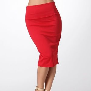 Dresses & Skirts - Red Pencil Midi Skirt