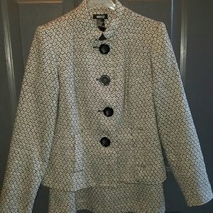 Metrostyle Dressy Skirt Suit - Black and White