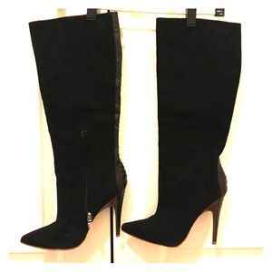 Sigerson Morrison black suede knee high boots.
