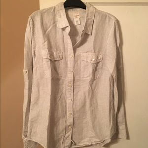 J. Crew blue and white striped linen shirt