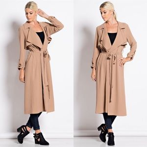 """Atelier"" Belted Crepe Trench Coat"