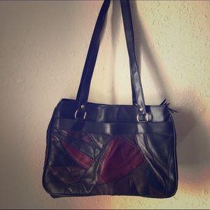 VINTAGE Patchwork Color Block Shoulder Bag