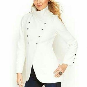 Krush Jackets & Blazers - Cream Cutaway-Hem Military Coat
