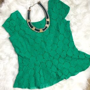 Xhilaration Tops - Green Crochet Peplum Top