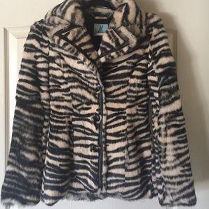 Marciano Jackets & Blazers - NWOT Marciano faux fur zebra coat  XSM