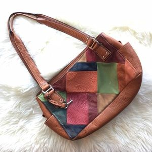 Fossil Leather Multi Color Brown Patch ShoulderBag