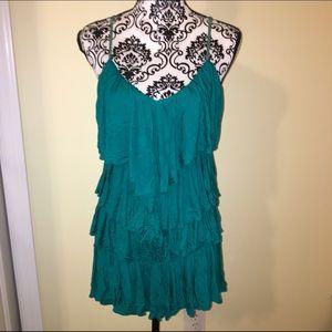 ❤️ Small Green V neck ruffle dress