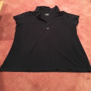 Venezia Tops - Venezia 2X black polo shirt with button details