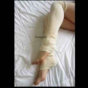 HUE Accessories - Footless Cable Over The Knee Socks Pointelle Rib