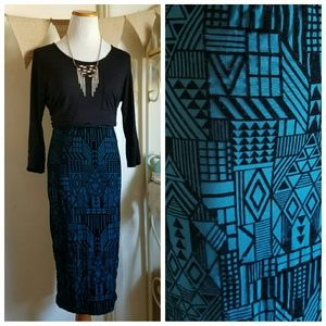 Velvet Midi Skirt Aztec Geometric Tribal Print