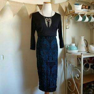 65d48f9f68 Sans Souci Skirts | Velvet Midi Skirt Aztec Geometric Tribal Print ...