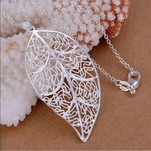 Elegant Sterling Silver Leaf Necklace