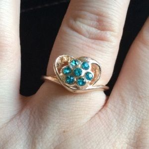 Beautiful Gold Filled Heart Blue CZ Ring