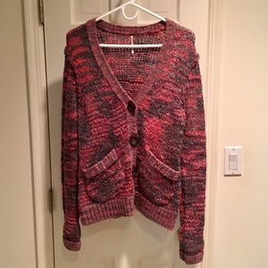 Free People Pink and Gray V-Neck Cardigan