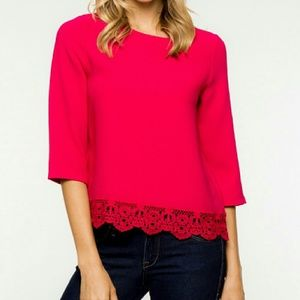 Everly Tops - 💕Beautiful rasberry lace trim top