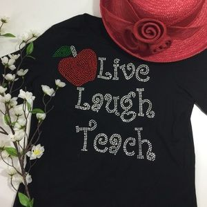 Tops - Rhinestone embellished t-shirt for teachers