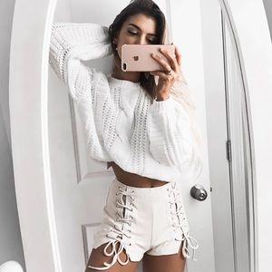 Bare Anthology Sweaters - NBF ❤️ White Balloon Sleeve Sweater Top