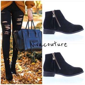 Vivacouture Shoes - Best Black Fringe Bootie