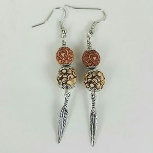 HANDMADE Bead & Feather Earrings