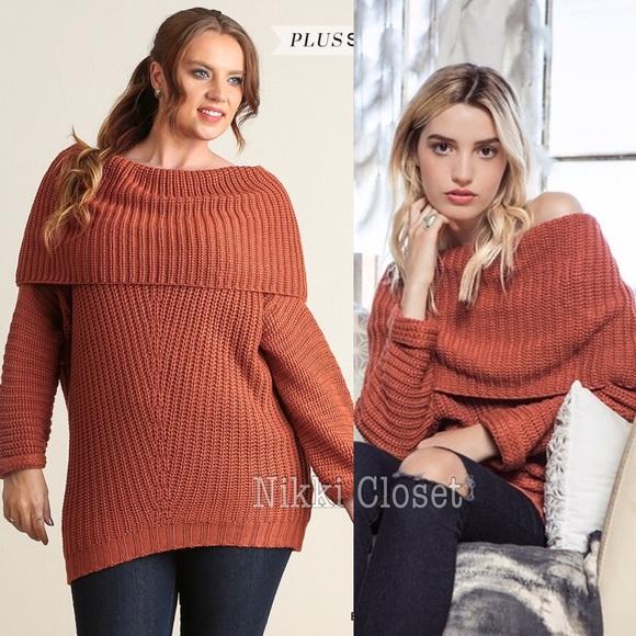 Botutique Sweaters Rust Brick Plus Size Sweater Tunic Top Chunky