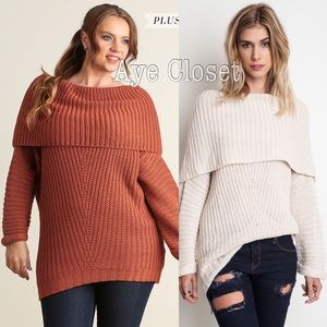 Boutique Sweaters - Plus size Knit chunky sweater tunic top rust sexy