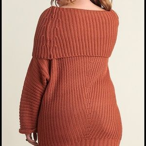 ca940f7c316 Boutique Sweaters - Plus size Knit chunky sweater tunic top rust sexy