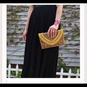 T&J Designs Handbags - Hand Beaded Yellow Clutch
