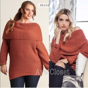 Sweaters - Plus size sweater tunic top knit food over chunky