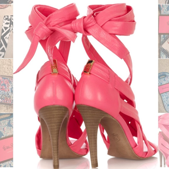 fad1d04be65ba2 Tory Burch Bright Pink Leather Wrap Sandal Heels. M 57f9f6e0bf6df5ace7017e49