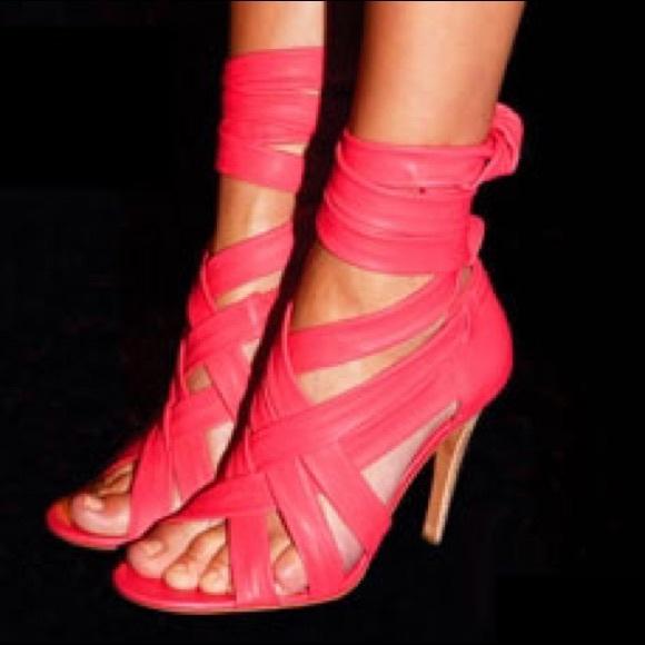 15e331336fa8d7 Tory Burch Bright Pink Leather Wrap Sandal Heels. Tory Burch.  M 57f9f6e0bf6df5ace7017e49. M 57f9f6e168027801d5017e32.  M 57f9f6e12ba50af04b01844f