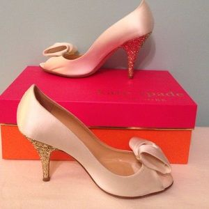 Kate Spade sala ivory satin shoe glitter heel 7