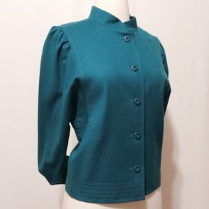 Vintage Teal Wool Mandarine Collar Jacket