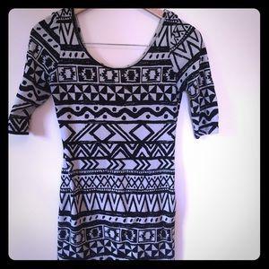 Love culture black and white Aztec dress