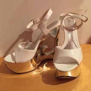 Shoes - White and silver costume heels!