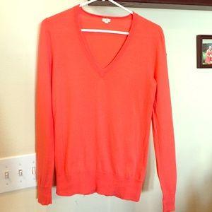 J.Crew, size S, Orange V neck sweater
